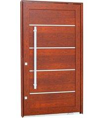 porta pivotante lambris horizontais com friso e puxador alumínio madeira 223,5x126,2x12cm esquerda aluminium - 72461100 - sasazaki - sasazaki