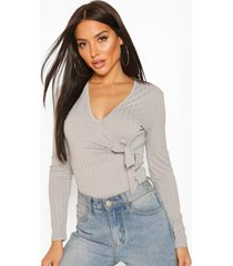 jumbo rib tie front top, grey