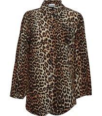 silk mix shirt blouse lange mouwen bruin ganni