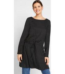 lange viscose blouse met tunnelkoord en zijsplitten