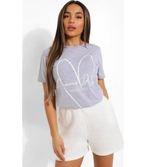 petite self love t-shirt, grey marl
