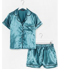 womens straight to sleek satin pajama shorts set - emerald