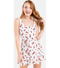 bianca floral front tie mini dress - ivory