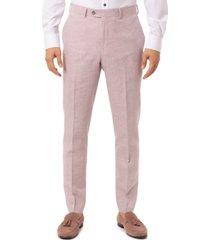 tallia men's slim-fit pink plaid suit separate pants