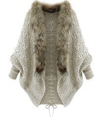 plus size batwing sleeve faux fur lace up chunky cardigan