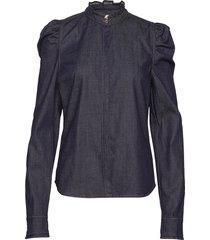 hania blouse lange mouwen blauw custommade
