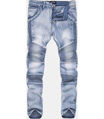 motociclista vintange folds jeans per uomo lavati in pietra ad alta elasticità