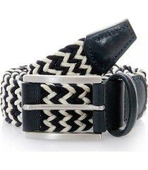 anderson's belts elastic woven belt | navy/white | 00667-b8n