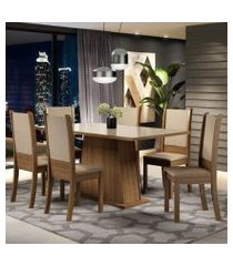 conjunto sala de jantar madesa emma mesa tampo de vidro com 6 cadeiras cor:rustic/crema/sintético bege