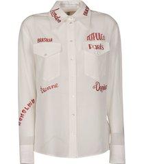 victoria beckham cotton viscose blend printed shirt
