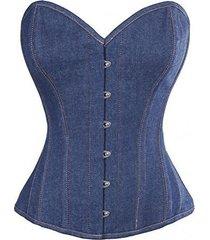 sexy blue denim gothic steampunk bustier waist training overbust corset costume