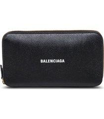 balenciaga black leather wallet with logo print