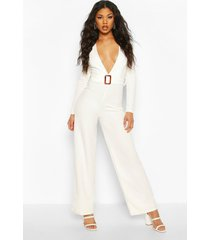 plunge belted jumpsuit, white
