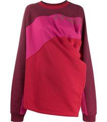 y/project contrast panel draped sweater - pink