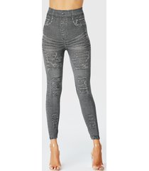 grey super stretch high-waisted denim pants