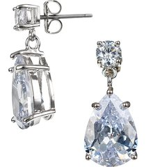 cz by kenneth jay lane women's look of real rhodium-plated & crystal drop earrings