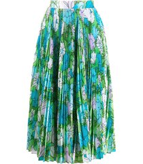 richard quinn floral accordion skirt - blue