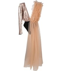 alchemy tulle-panelled sequin bodysuit - neutrals