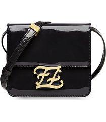 fendi ff karligraphy patent leather shoulder bag - black