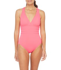 women's la blanca island goddess one-piece swimsuit, size 12 - pink