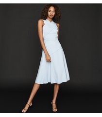 reiss paige - fit-and-flare midi dress in pale blue, womens, size 14