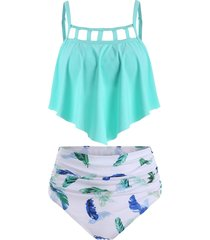 ladder cutout ruched feather print tankini swimsuit