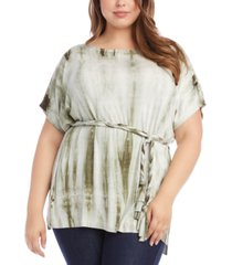 karen kane plus size belted tie-dyed tunic top