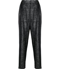 balmain tapered lurex trousers - black