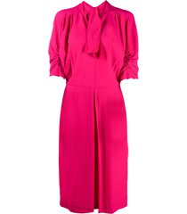 marni ruched-sleeves tie-neck day dress - pink
