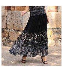 block-printed viscose chiffon maxi skirt, 'midnight glory' (india)