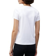 lafayette 148 new york eden rib stretch cotton t-shirt, size small in white at nordstrom
