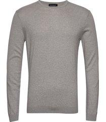 bs gaspard stickad tröja m. rund krage grå bruun & stengade