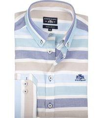 state of art overhemd gestreept beige blauw