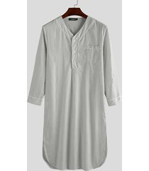 basics incerun hombre midi de manga larga con cuello de pico y estampado de rayas camisa