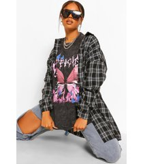 official butterfly gebleekt oversized t-shirt, charcoal
