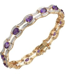 amethyst (4 1/2 ct. t.w.) and diamond accent bracelet in 18k yellow gold over sterling silver