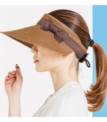 donna berretto di paglia con visiera larga regolabile traforata