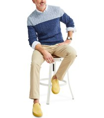 club room men's colorblocked cable-knit sweater, created for macy's