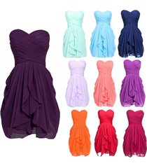 hot short strapless chiffon cocktail party formal gown bridesmaid prom dresses