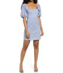 women's speechless poplin puff sleeve dress, size large - blue