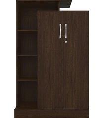 armário multiuso 2 portas elite c/ chave ébano touch demobile