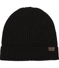 rib-knit merino wool beanie