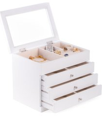 bey-berk jewelry case with 3 drawers and glass see-through top