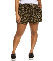 treasure & bond floral crepe shorts, size 2x in black scrolling floral at nordstrom