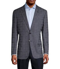 standard-fit cross-check virgin wool blazer