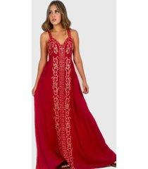 vestido largo bordado boho chic rojo enigmática boutique