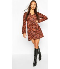 oversized leopard shift dress, brown