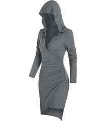 hooded long sleeve heathered surplice dress