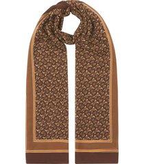 burberry monogram print chiffon scarf - neutrals