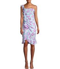 lois floral one-shoulder ruffled dress